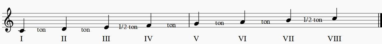 Chaque note de la gamme est un degré. Les tons et demi-tons forment des espaces dans un ordre bien précis