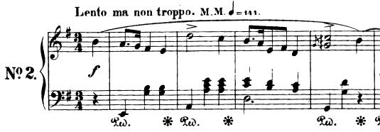 Premières mesures de la mazurka op.17 n°2 de Chopin