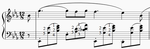 Extrait nocturne Chopin en mi bémol majeur. La main gauche joue les notes au-dessus du Do central (en clé de Fa).